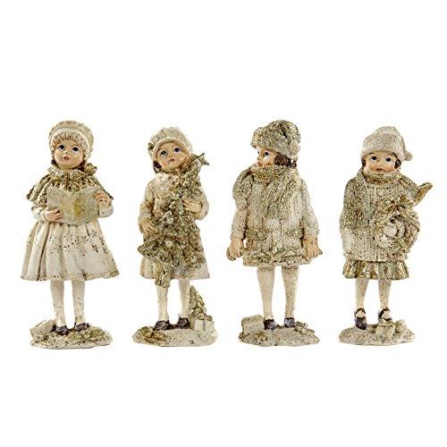 Goodwill, bambini vittoriani, in resina, decorazione di natale, set di 4