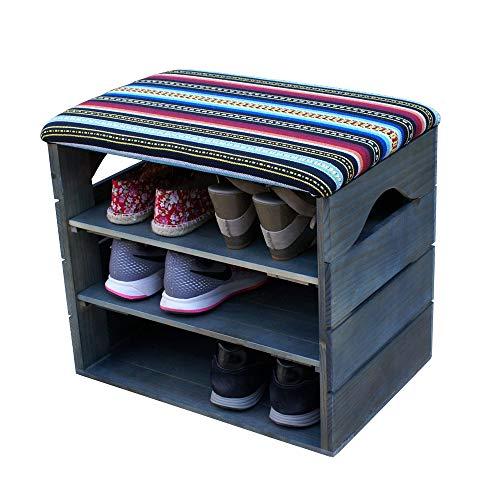 Liza Line® Schuhregal mit Sitzfläche Schuhschrank Sitzbank Schuhablage Sitzkissen Schuhkommode Veranstalter Schuhbank Standregal Garderobe Möbel | umweltfreundlich -