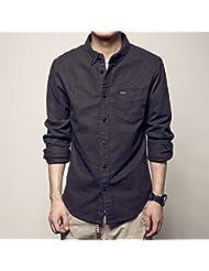 Lijado de pecho de la camisa de color sólido bolsillos mangas largas camisas de los hombres solteros de la oleada,2XL