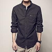 RIVI Lijado de Pecho de la Camisa de Color sólido Bolsillos Mangas largas Camisas de los Hombres Solteros de la oleada,2XL