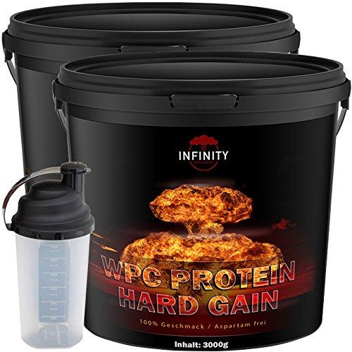 6000g / 6Kg WPC Whey Protein / Hard Gain, Erdbeere, Himbeere, Toffi oder Plätzchen Geschmack / Eiweißpulver Muskelaufbau + Shaker (Erdbeere + Himbeere)