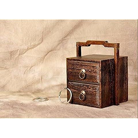 AQPDJ Joyas antiguas de madera sólida caja caja referencia cajón doble en caja de almacenamiento ,