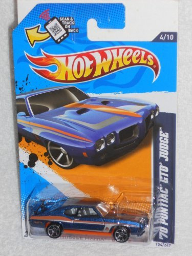 Hot Wheels Muscle Mania - GM '12 '70 Pontiac GTO Judge (Blue and orange) by Hot Wheels (Hot Wheels Gto)