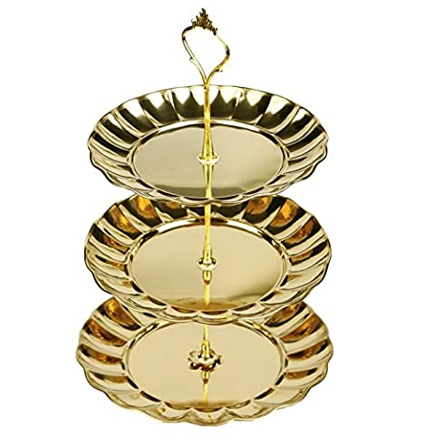 Cake Stand -3 Layer Stainless Steel Boutique Cake Rack, Art Style Fruit Dessert Rack for Family Hotel Party Use by Newpurslane