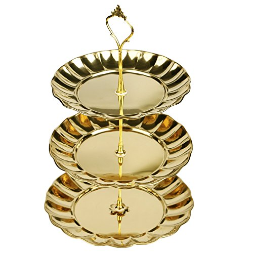 ANPI 3 Etagen Obst Kuchen Dessert Platte Ständer mit Edelstahl für Candy Buffet Hochzeit Zuhause Party Aktivitäten Etagere Gold Plate