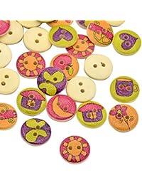 Pandahall-Ronda plana botones de madera impresas de casa feliz tenidos con 2-ojales, amarillo, 15x3mm, agujero: 2 mm