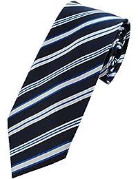 COLLAR AND CUFFS LONDON - HIGH QUALITY Handmade Tie - Striped - A True Classic - Navy Blue Multi Stripes