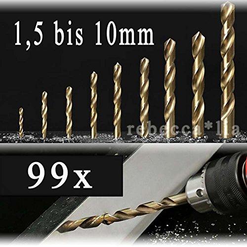 Preisvergleich Produktbild EMOTREE 99 tlg Titan HSS Spiralbohrer Set 1.5-10mm Werkzeug Metallbohrer Titanium