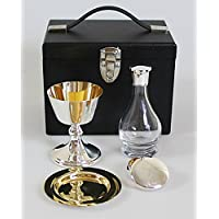 Frank Wright Mundy & Co Ltd Old English Four Piece Portable Communion Set with Glass Cruet