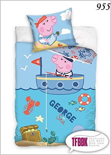 Preisvergleich Produktbild 2 tlg Kinderbettwäsche 100x135 40x60 Disney 955 Peppa Pig George