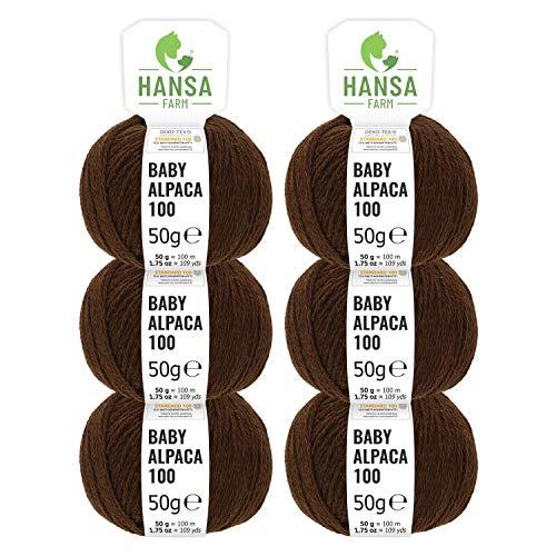 Hansa-farm 100% lana di alpaca in più di 50 colori (non punge), set da 300g (6 x 50g), lana di baby alpaca morbida per maglieria e uncinetto in 6 spessori di filato gomitoli lana marrone cioccolata