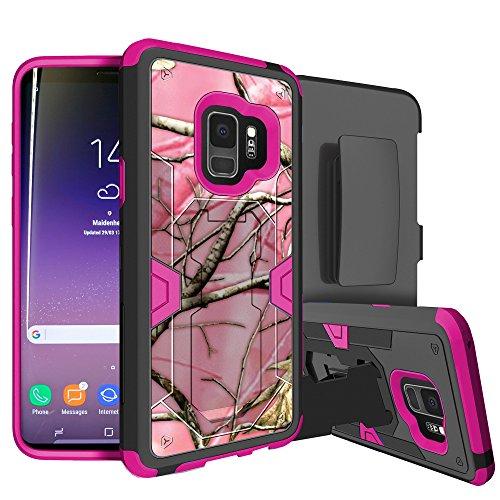 Galaxy S9Rugged Holster Case w/Stand [Max Defense Schutzhülle für Galaxy S9von miniturtle] [Pink Serie] Galaxy S9sm-g960Case w/, schlagfestem Silikon Innen- und Hard Shell, Pink Hunter Camo Case Cover Hunter-serie