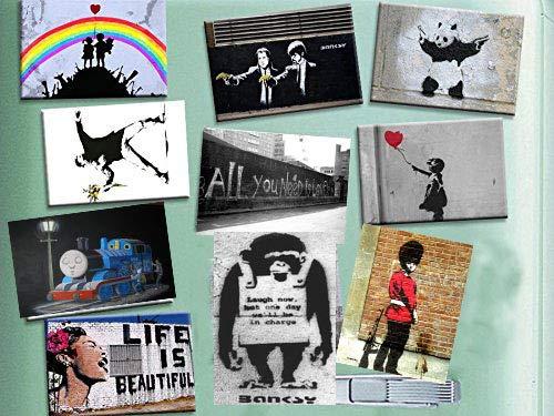 Kühlschrank-Magnetemit beliebten Banksy-Motiven, 10 Stück