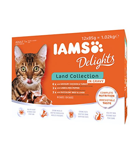 IAMS Delights Land Collection in Sauce – Hochwertiges Katzenfutter nass für Katzen ab 1 Jahr in verschiedenen Geschmackssorten – 12 x 85g Frischebeutel