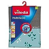 Vileda - Park & Go - Housse Table à repasser universelle, zone parking anti-brûlure, colori papillons Vileda bleu ou rouge aléatoire