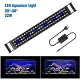 FTALGS Aquarium LED Aquarium Beleuchtung, Aquariumbeleuchtung Lampe Weiß Blau Licht mit Verstellbarer für Aquarium (80A=28