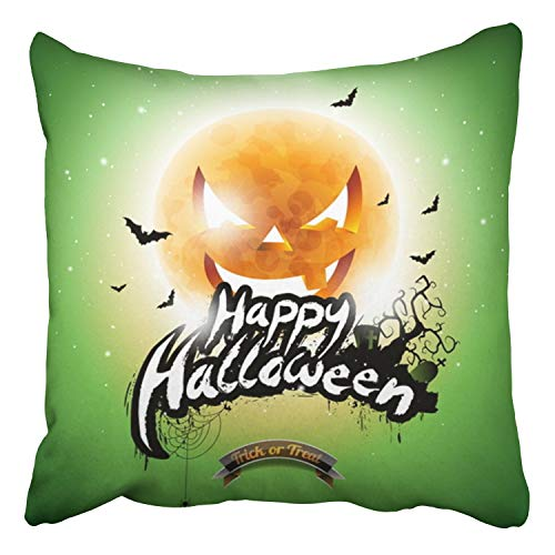 RAINNY Throw Pillow Covers Happy Halloween Bats Moon On Green Holiday Design for Greeting Decor Pillowcases Polyester Square Hidden Zipper Home Cushion Decorative Pillowcase 18x18 inch