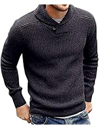 BUSIM Men's Long Sleeved Sweater Autumn Winter High-Necked Round Neck Pullover Sweater Knit Shirt Solid Color...