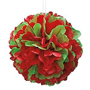 35cm rojo y verde Navidad pompón de papel de seda