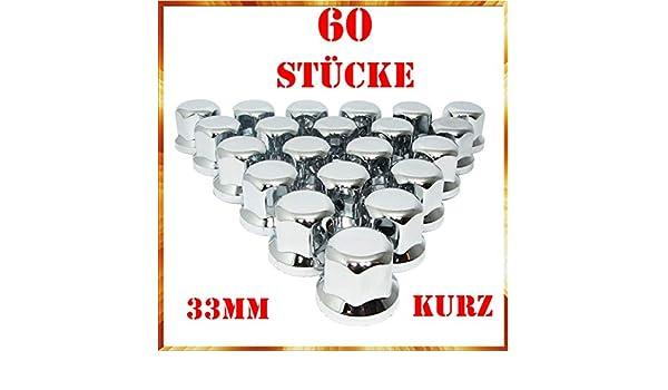 Easy Link 100 x 33 mm Radmutterkappen Radkappen Chrom Kunststoff SW33 KURZ LKW Anh/änger