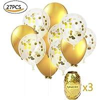 Globos de fiesta MMTX Set Globos de lunares de confeti dorado de 12 pulgadas Paquete de 24 globos de latex rellenos para boda, cumpleaños, baby shower, graduación, decoraciones de fiesta de ceremonia (con cinta de opciones)