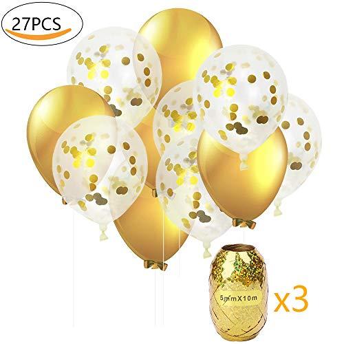 Globos de Fiesta MMTX Set Globos de Lunares de Confeti Dorado de 12 Pulgadas Paquete de 24 Globos de Latex Rellenos para Boda, cumpleaños, Baby Shower, graduación(con Cinta de Opciones)