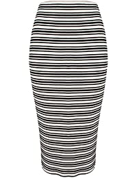 Great Plains - Alexandra Stripe Pencil Skirt, Black/Seasalt