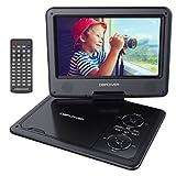 DBPOWER 9.5' Lecteur DVD Portable, pile rechargeable de 5 heures, avec écran orientable, compatibilité carte SD et interface USB, lit directement les formats AVI, RMVB, MP3 et JPEG (Noir, 9.5)