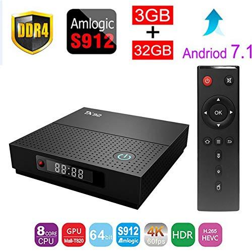 Mesigu Elektronische TV-Box TX92 Android 7.1 TV-Box Amlogic S912 Octa-Core-CPU DDR3 3 GB RAM 32 GB ROM BT 4,0 2,4/5 Dual-Band-WLAN 4K UHD und LAN VP9 DLNA Fernsehmelder