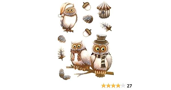 Amazon De Deko Punkt Roth Fenstersticker Set 10 Tlg Eulen Fensterbilder Wald Eicheln Blatter