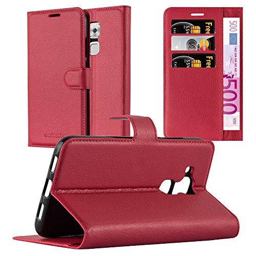 Cadorabo Hülle für Huawei NOVA Plus - Hülle in Karmin ROT - Handyhülle mit Kartenfach & Standfunktion - Case Cover Schutzhülle Etui Tasche Book Klapp Style