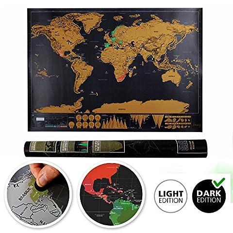 Weltkarte zum Rubbeln– rubbelweltkarte schwarz- Weltkarte leinwand Personalisiertes Poster um Reisen zu verfolgen - Zeigen Sie Ihre Abenteuer (82.5 x 59.5 cm)