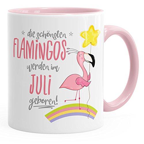 MoonWorks Geschenk-Tasse die schönsten Flamingos Werden im Juli Geboren Geburtstags-Tasse Geburtstmonat Wunschmonat Kaffee-Tasse Rosa Unisize