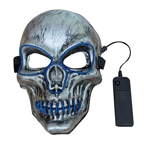 Hankyky LED leuchten Maske Festival Parteien erschreckende Halloween Scary Maske Cosplay Led Kostüm Maske EL Draht leuchten für Halloween Festival - El Draht Kostüm