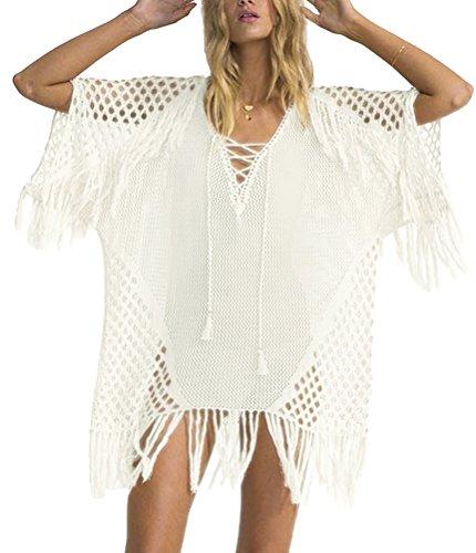 Walant Damen Sommer Gestrickt Strand Bademode Bikini Cover Up Crochet Kurze Kleider Tops Bluse Sweatshirt mit Quasten (Bikini Strand Bademode)