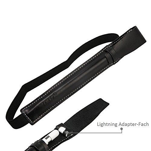Jisoncase Klasse Apple Pencil Hülle Leder Halter mit Adapter Platz Schwarz JS-APL-02A10