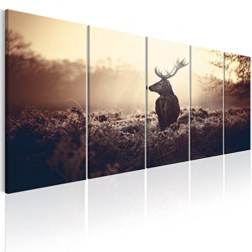 murando - Bilder Hirsch 200x80 cm Vlies Leinwandbild 5 TLG Kunstdruck modern Wandbilder XXL Wanddekoration Design Wand Bild - Natur Tier Landschaft g-B-0045-b-p