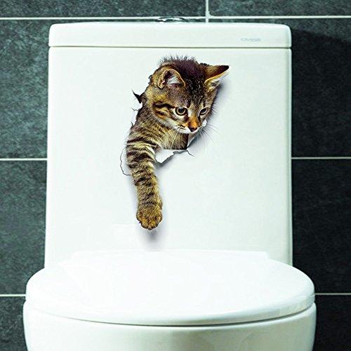 Zantec 3D Katze Wandaufkleber Loch Ansicht Bad Wc Wohnzimmer Wohnkultur Tier Vinyl Decals Poster -