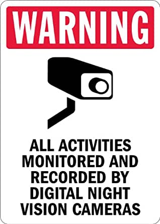 "SmartSign 3M Engineer Grade Reflective Sign, Legend ""Warning: Monitored by Night Vision Cameras"" with Graphic, 10"" high x 7"" wide, Black/Red on White"