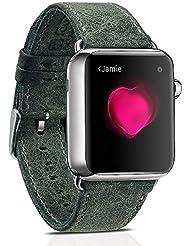 Spritech (TM) Elegance Watchband, bandas de correa de Barcelet de cuero Crazy Horse de repuesto para iWatch Adaptadores inluded, color Gris