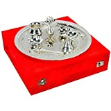 JaipurCrafts Handmade Decorative Silver Plated Pooja Thali Aarti Thali Set of 7 pieces with Gift Box Packing for use worship Festivals Occasion Home Decor Wedding Anniversary Diwali Gift item