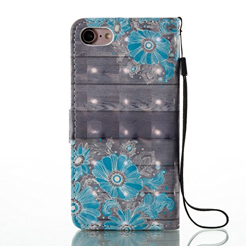 Custodia iPhone 7, iPhone 7 Cover, ikasus® iPhone 7 Custodia Cover [PU Leather] [Shock-Absorption] Fiore Dreamcatcher Modello Colorato verniciato con Bling Gitter scintillante Strass Brillante Protett Fiore blu