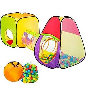TecTake Tenda a dado per bambini con tunnel + 200 palline + tenda tascabile - Tenda da gioco con palline per bambino