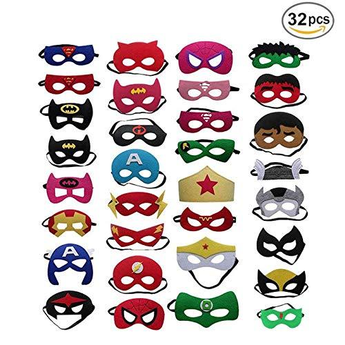 Tatafun maschere di supereroi,supereroe per feste, supereroi maschere cosplay,mascherata, halloween per bambini 32 pezzi