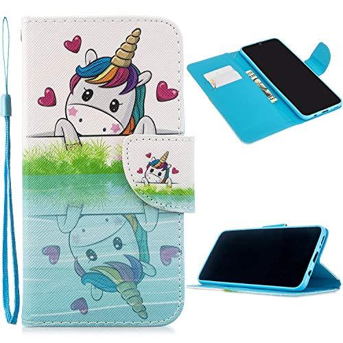 Miagon Full Body Cover Hülle für Samsung Galaxy Note 10 Plus,Bunt Muster Design PU Leder Handyhülle Klapphülle Schutzhülle mit Karten Steckfächern Standfunktion,Einhorn Herz