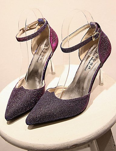 GS~LY Da donna-Tacchi-Casual-A punta-A stiletto-Lustrini-Nero / Viola / Bianco / Dorato purple-us8 / eu39 / uk6 / cn39