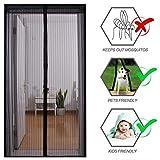 SUPRBIRD Fliegengitter Tür Moskitonetz Tür 90x210CM Insektenschutz Magnet Vorhang Fliegenvorhang für Balkontür Wohnzimmer, Klebmontage ohne Bohren (Schwarz)