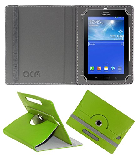 Acm Rotating 360° Leather Flip Case for Samsung Galaxy Tab 3 T111 Neo Tablet Cover Stand Green  available at amazon for Rs.149