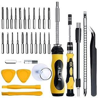esLife Schraubendreher Set [36 in 1] Schraubendrehersatz Magnetische Werkzeuge, 22 Langen Präzisions Bits Erweiterungs Kits für PC /PS4 /Pad /Elektronik /Möbel und Alle Kategorien Reparatur