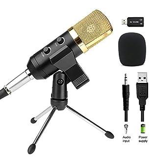 Amytech Kondensatormikrofon USB Plug & Play Mikrofon für Computer (Windows, Mac, Linux OS), Podcasting, Aufnahme mit 2,5 m Kabel
